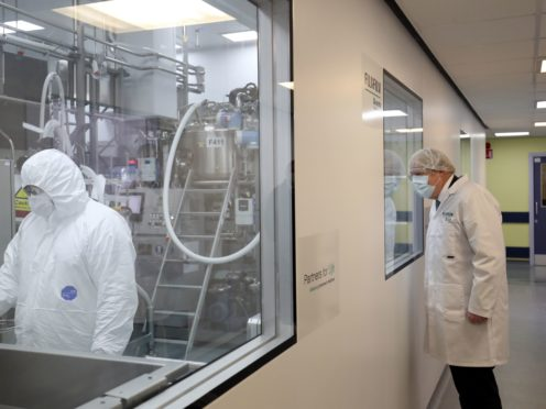 Boris Johnson visiting the Fujifilm Diosynth Biotechnologies plant in Billingham, Teesside, where the protein antigen component of the Novavax vaccine will be made (Scott Heppell/PA)