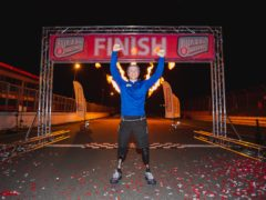 Billy Monger completing his 140-mile triathlon-inspired charity challenge across England for Red Nose Day 2021 (Patch Dolan/Comic Relief/PA)