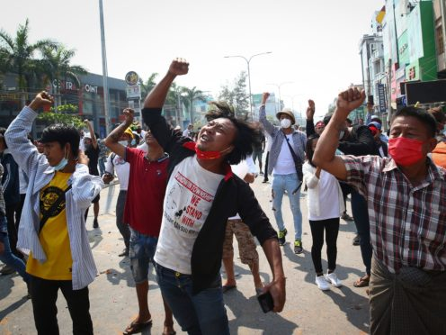 Protesters in Mandalay (AP)