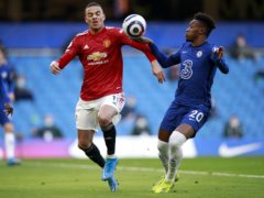 Chelsea's Callum Hudson-Odoi, right, was not penalised for handball in his side's match against Manchester United last Sunday (PA)