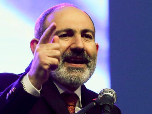 Armenian Prime Minister Nikol Pashinyan addressing his supporters (Hayk Baghdasaryan/PHOTOLURE via AP)