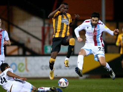 Jem Karacan (right) is a doubt for Scunthorpe (Nigel French/PA)