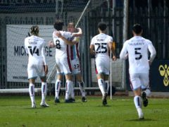 Scunthorpe's Alfie Beestin (third left) celebrates scoring the winning goal (Nigel French/PA)