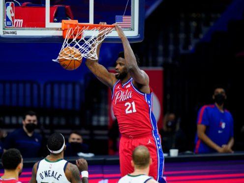 Joel Embiid scored 40 points as his Philadelphia 76ers shut down the Utah Jazz 131-123 (Matt Slocum/AP)