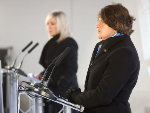 First Minister Arlene Foster and deputy First Minister Michelle O'Neill during a media briefing at the Hill of O'Neill centre in Dungannon, County Tyrone (Kelvin Boyes/Press Eye/PA)