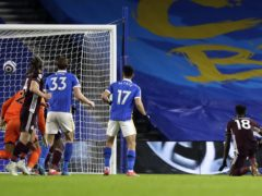Daniel Amartey, right, headed home the winner with three minutes remaining for Leicester (Matt Dunham/PA)