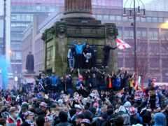 Rangers fans celebrated in George Square, Glasgow (Jane Barlow/PA)