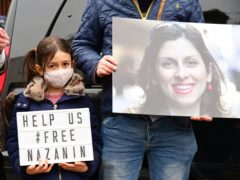 Nazanin Zaghari-Ratcliffe's daughter Gabriella at a protest outside the Iranian Embassy in London (Ian West/PA)