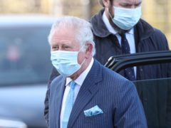 EMBARGOED TO 1140 TUESDAY MARCH 9 The Prince of Wales arrives for a visit to an NHS vaccine pop-up clinic at Jesus House church, London (Yui Mok/PA)