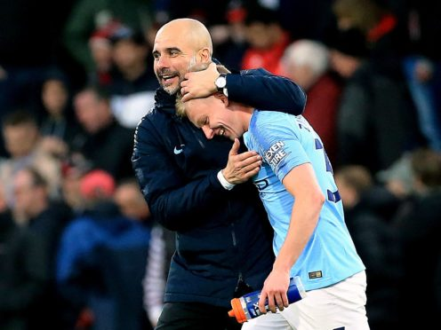 Manager Pep Guardiola does not agree with Oleksandr Zinchenko saying Manchester City can win the quadruple (Mark Kerton/PA)