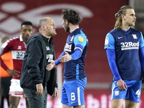 Alan Browne, centre, was sent off at Middlesbrough (Owen Humphreys/PA)