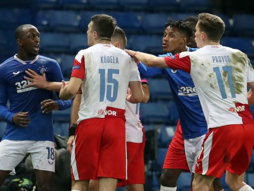 Ugly scenes marred the end of Rangers' game with Slavia Prague (Andrew Milligan/PA)
