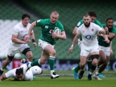 Keith Earls, centre, scores Ireland's first try against England (Niall Carson/PA)