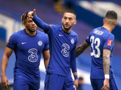Chelsea's Hakim Ziyech (centre) celebrates his side's second goal (John Walton/PA).
