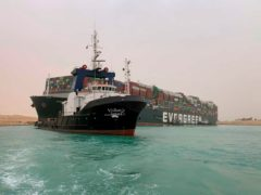 An official warned it could take at least two days to clear the ship (Suez Canal Authority via AP)