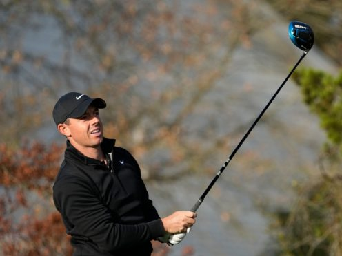 Rory McIlroy hits a provisional ball off the fifth tee during his first round defeat to Ian Poulter in the WGC-Dell Technologies Match Play (David J Phillip/AP).