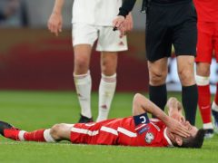 Robert Lewandowski has been ruled out of Bayern Munich's Champions League quarter-final with Paris St Germain (Laszlo Balogh/AP)
