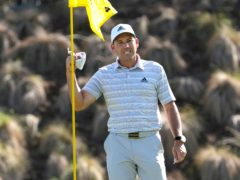 Sergio Garcia celebrates after making a hole-in-one on the fourth play-off hole against Lee Westwood in the WGC-Dell Technologies Match Play (David J. Phillip/AP)