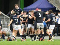 Scotland celebrate Duhan Van Der Merwe's winning try (PA via ABACA)