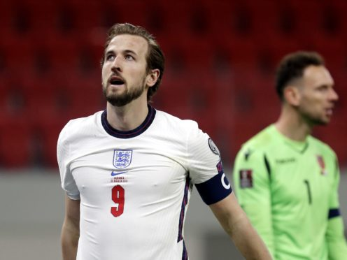 Harry Kane's first international goal in 16 months helped England on their way to a comfortable 2-0 victory in Albania (Florian Abazaj/PA)