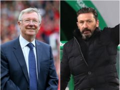 Sir Alex Ferguson, left, has offered to give Derek McInnes a reference (Andrew Milligan/ Richard Sellers/PA)