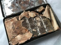The 121-year-old chocolate is still in its original wrapper, uneaten (National Trust/Victoria McKeown/PA)
