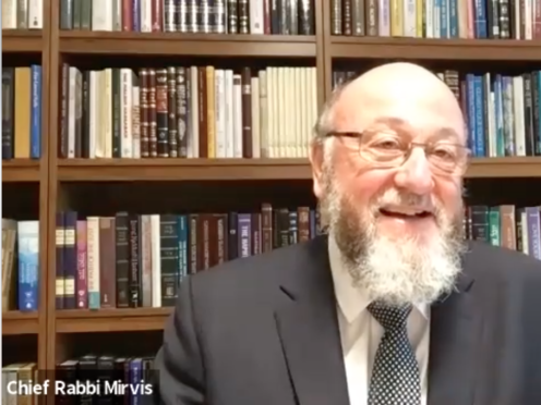"""The Chief Rabbi said """"thank God for Zoom"""" as he reflected on a year since the pandemic began (Office of the Chief Rabbi/PA)"""