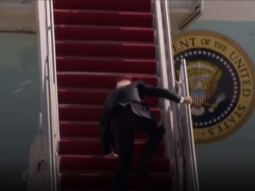 Joe Biden took a tumble as he boarded Air Force One (AP)