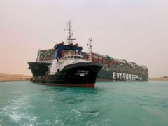 A ship stuck in the Suez Canal (Suez Canal Authority/AP)