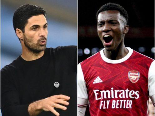 Mikel Arteta admits he is worried about the development of striker Eddie Nketiah (Michael Regan/PA/Will Oliver/PA)