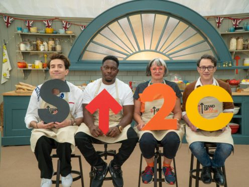Nick Grimshaw, Dizzee Rascal, Philippa Perry and Reece Shearsmith (Channel 4/Love Productions/Mark Bourdillon/PA)