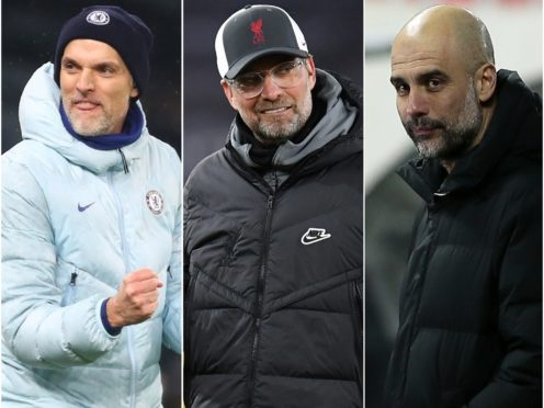 Thomas Tuchel, Jurgen Klopp and Pep Guardiola, l-r, are awaiting the Champions League quarter-final draw ( Clive Rose/Paul Ellis/Trenka Atilla/PA)