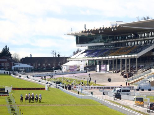 Runners make their way down the home straight in front of an empty grandstand (Michael Steele/PA)