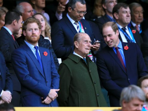 William and Harry will not walk shoulder to shoulder behind their grandfather's coffin (Gareth Fuller/PA)