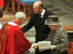 The Queen and the Duke of Edinburgh are greeted by the Archbishop of Canterbury, Justin Welby and the then Archbishop of York, Dr John Sentamu, at Westminster Abbey (PA)