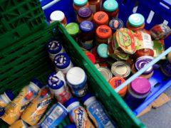 Stocks of food at the Trussell Trust Brent Foodbank, Neasden, London (Jonathan Brady/PA)