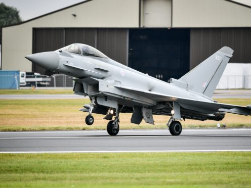 The RAF used Typhoon FGR4 aircraft to help conduct the strike against IS terrorists (Ben Birchall/File/PA)
