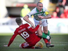 Scott Brown, right, is set to face Aberdeen for the last time as a Celtic player (Jane Barlow/PA)