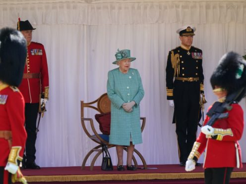 The Queen during a ceremony at Windsor Castle in Berkshire to mark her official birthday last year (Paul Edwards/The Sun/PA)