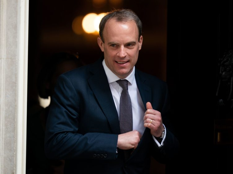 Foreign Secretary Dominic Raab said the UK will stand with the US against 'malign' Russian behaviour (Aaron Chown/PA)