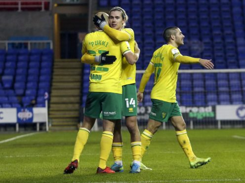 Todd Cantwell (centre) and Emi Buendia (right) have again proved key to Norwich's promotion hopes (Steve Parsons/PA)