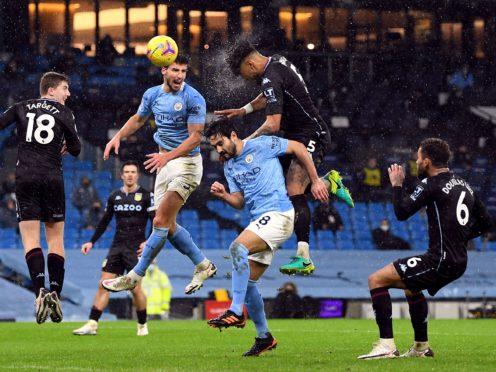 Aston Villa lost 2-0 at Manchester City in January. (Shaun Botterill/PA)