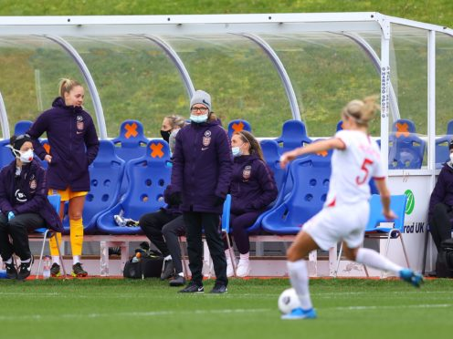 Hege Riise, centre, has overseen two England games so far and names her Great Britain squad next month (Handout photo provided by the FA/PA)
