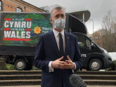 Plaid Cymru leader Adam Price launching his party's election campaign in Atlantic Wharf, Cardiff. Picture date: Friday March 26, 2021.