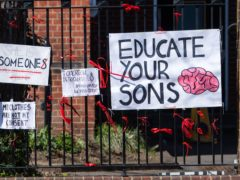 Signs outside a school in the aftermath of allegations of rape culture at a number of independent schools (Dominic Lipinski/PA)