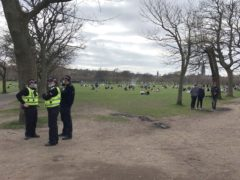 Police in the Meadows the day before the incident (Simone Claridge/PA)