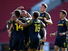 Stoke celebrate Steven Fletcher's goal (Simon Galloway/PA)