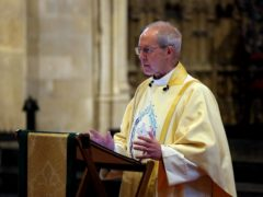 The Archbishop of Canterbury Justin Welby delivers his sermon during the Easter Day Choral Eucharist service at Canterbury Cathedral (Gareth Fuller/PA)