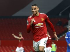 Manchester United's Mason Greenwood celebrates scoring their winning goal (Phil Noble/PA)