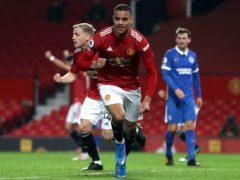 Mason Greenwood celebrates after scoring Manchester United's winner against Brighton (Clive Brunskill/PA)